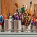 art supplies, brushes, rulers